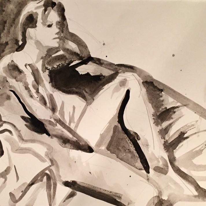"Seated Figure, Brush & ink 18x24""2016"